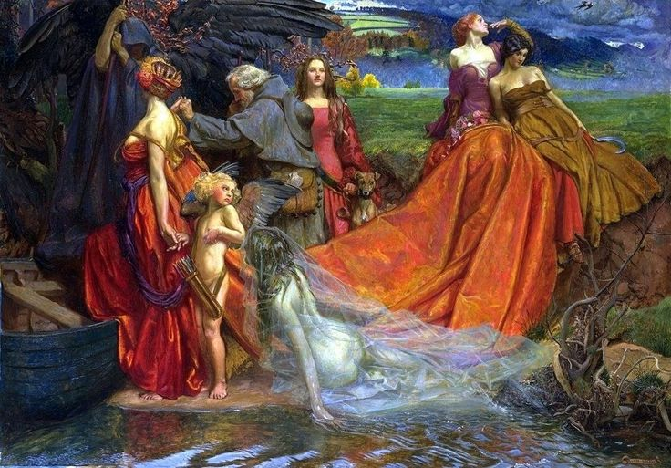 Byam Shaw ... #art #figurativeart #realism #fineart #red #drape #water #colors #ghost #dress #women #lake #boat #arrows #quiver #fashion #narrativeart