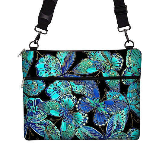 Macbook Pro RETINA Case / 15 inch Laptop Bag for MacBook Pro Retina Display / Messenger Laptop Bag w/ Strap  -  Butterfly blue green purple. $74.99, via Etsy.