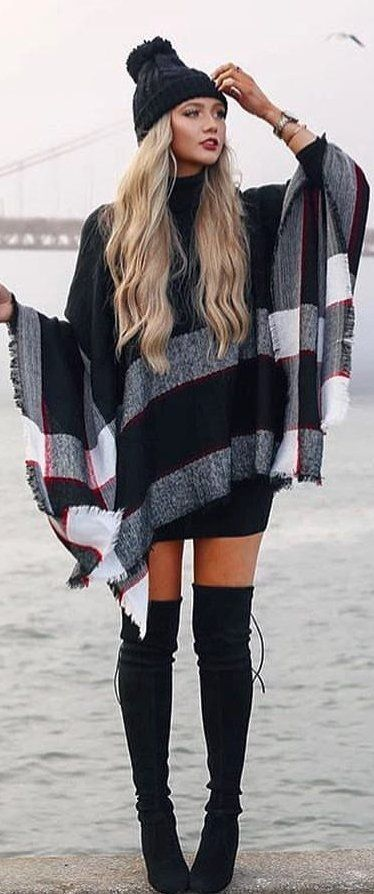 #winter #outfits black and gray cardigan with black knee high boots