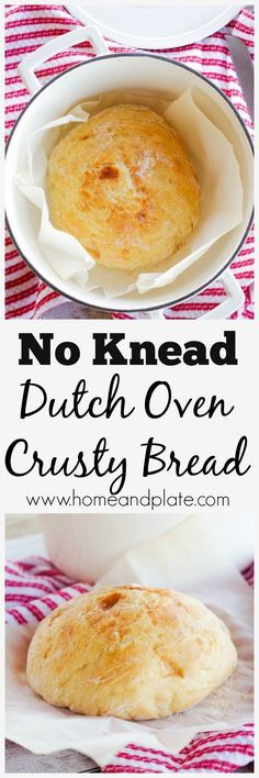 No Knead Dutch Oven Crusty Bread | www.homeandplate.com | Making a loaf of golden brown crusty bread at home is easier than you think. All you need is a Dutch oven! No kneading required.