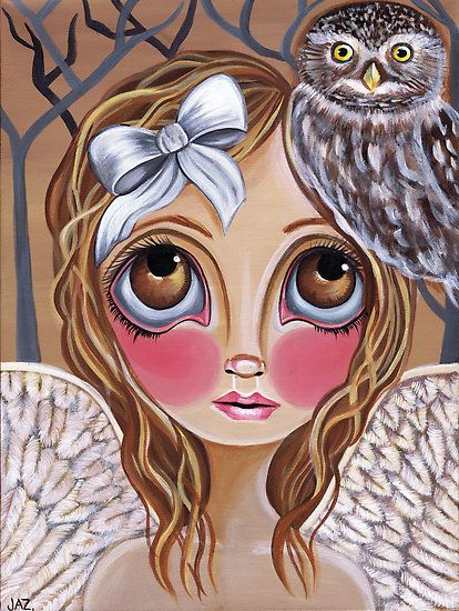 This print features a big eyed angel with a bow in her hair and her pet owl by her side. Description from etsy.com. I searched for this on bing.com/images