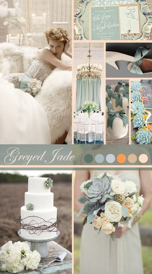 Greyed Jade Wedding Inspiration from Vintage Tea Roses http://vintagetearoses.com/greyed-jade-wedding-inspiration/ #vintage #wedding