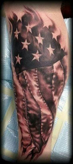 distressed american flag black and grey tattoo