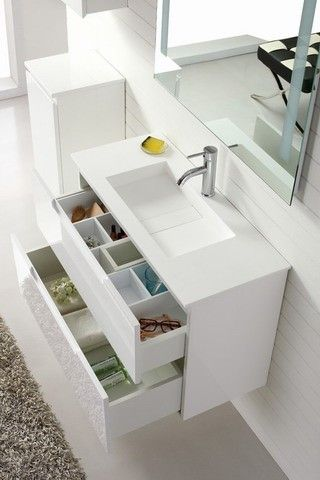 'Aspen' 900 White Wall Hung Vanity - Contemporary Vanity With Soft Closing Drawers By Nova Deko
