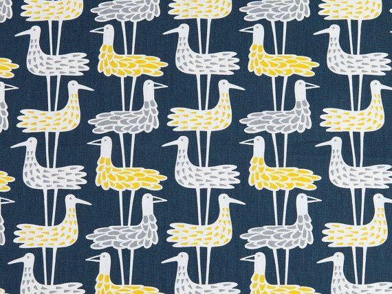 Blue curtain | Bird Window curtain | Kitchen curtain | beach house curtian | Scandinavian curtain | Nursery curtain | Cafe curtains