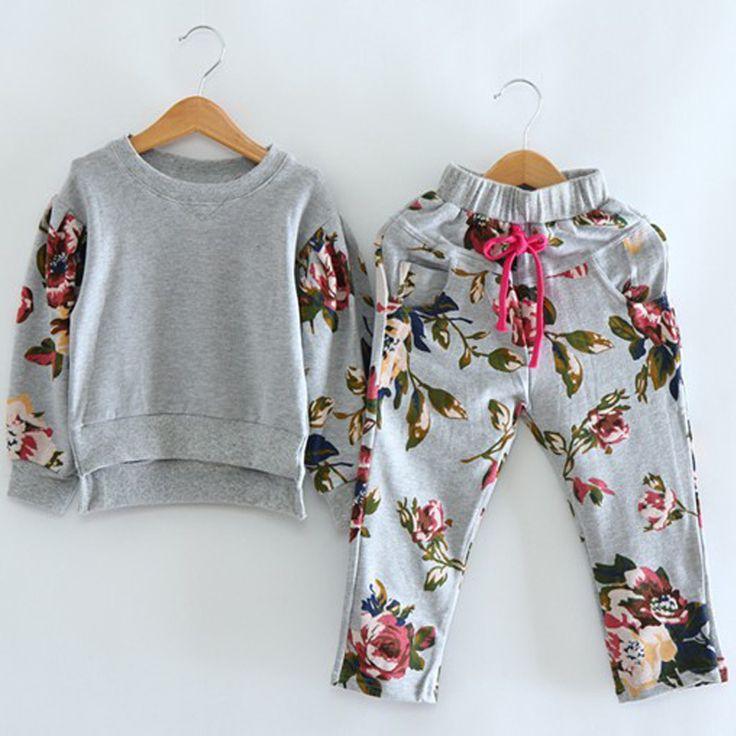 2015 chica coreana de manga larga ropa + los pantalones de impresión 2 unids conjuntos infantiles desgaste de la ropa del bebé de los cabritos del juego costumn(China (Mainland))