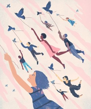"""""""We want to determine not only what makes people feel that they have a higher level of wellness, but also interventions that would help it."""" Illustration by Christopher Silas Neal"""