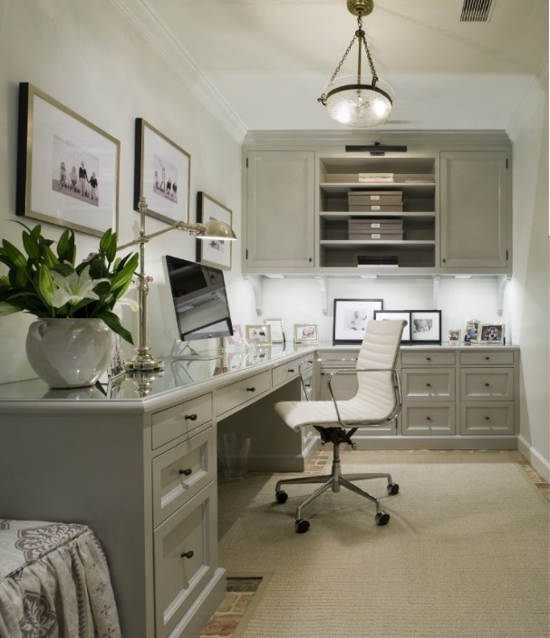 Gray Office With L Shaped Desk With Beveled Top With White Chair. Gray Built In  Office Cabinets With Glossy Gray Cabinet Moldings. Desk With Polished  Nickel ...
