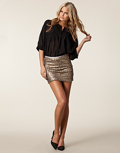 Gold and bling skirt, Nelly.com