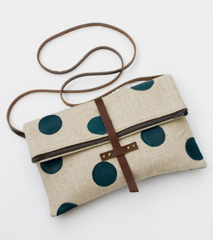 Image of foldover crossbody bag with hand cut leather polka dots (peacock) / Made by Hank