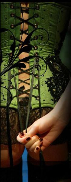 Beautiful...Lace, Fashion, Sexy, Lingerie, Style, Colors, Boudoir, Burlesque, Green Corsets