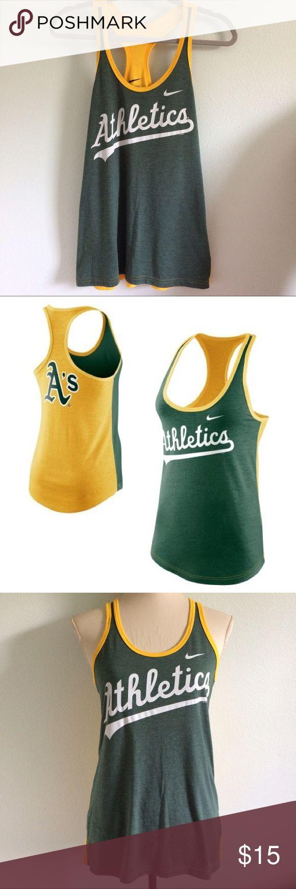 Nike Athletics Oakland Tank green yellow Nike Athletics tank in great condition! Tops Tank Tops
