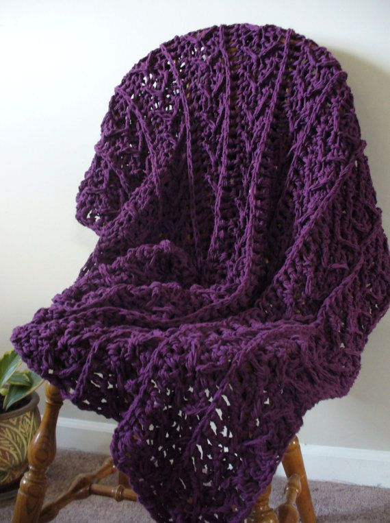 Crochet Cotton Throw  Purple Crochet Throw Blanket  by YarnDarlin, $199.00