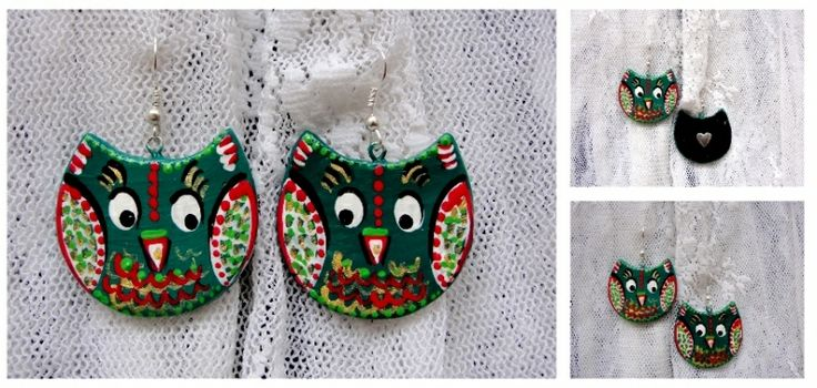 "Hand-made, hand-painted earings. Cercei ""Owls"""
