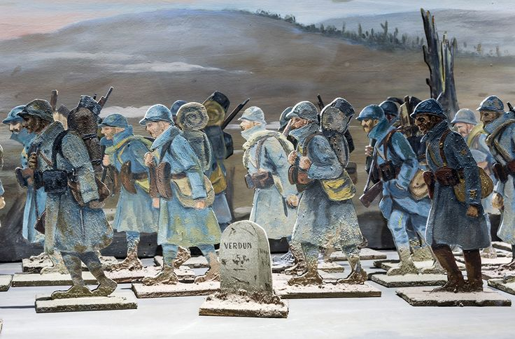 THE RAMEL DIORAMA on display at the Memorial Verdun, Verdun France. 125 figurines and a set in 5 sections, painted on wood. Dimensions: 424 x 45 x 40 cm (L x w x h)