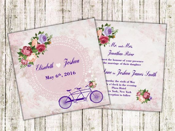 Bike Wedding Invitations Bicycle Wedding by LoveArtSyou on Etsy