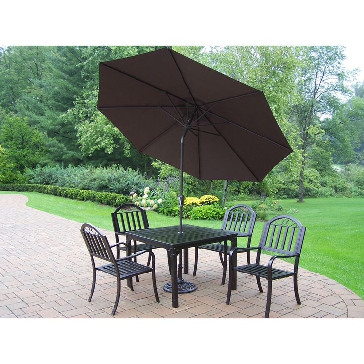 Oakland Living Corporation Hometown 7 Piece Outdoor Dining Set With Table,  4 Chairs, 9 Ft Brown Umbrella (Hammertone Brown, Brown Umbrella), Size  7 Piece ...