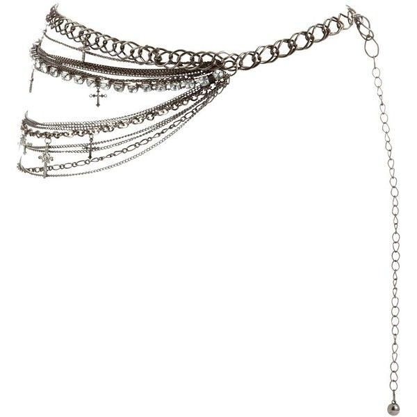 Silver Diamante Cross Chain Belt ($23) ❤ liked on Polyvore featuring accessories, belts, jewelry, cintos, other, embellished belt, cross belt, adjustable belt, silver belt and chain belt