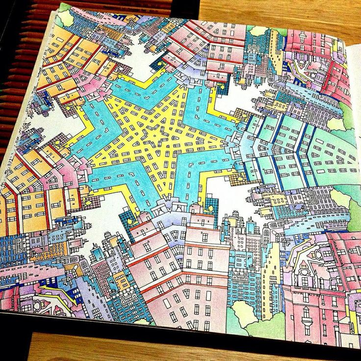 Adult Coloring Books Colouring Journals Buildings Cities In Vintage Diaries