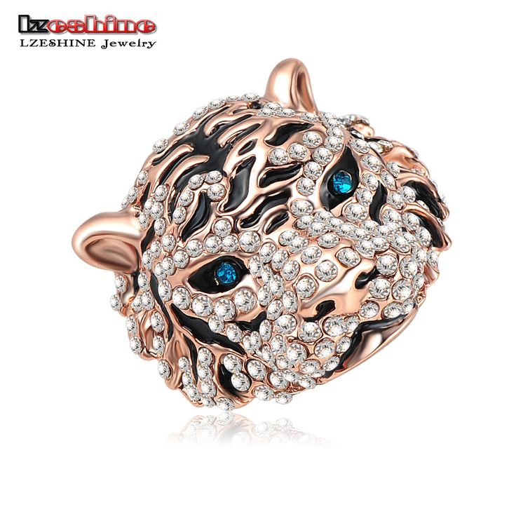 Enamel Tiger Shaped Punk Engagement Rings/Saphire Rings With 18K Rose Gold Plate Czech Crystal Ri-HQ0177