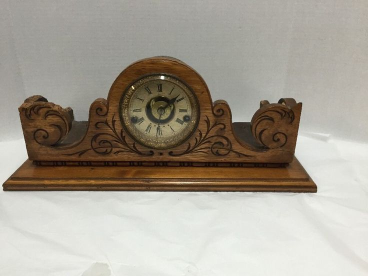 Antique Clock Shelf Mantle Carved Wood Case Base Not Working Needs Repair