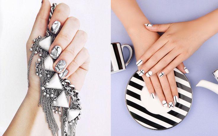 Linee geometriche o effetto marmo: oggi vi proponiamo due semplici nail art in bianco e nero per unghie eleganti e chic