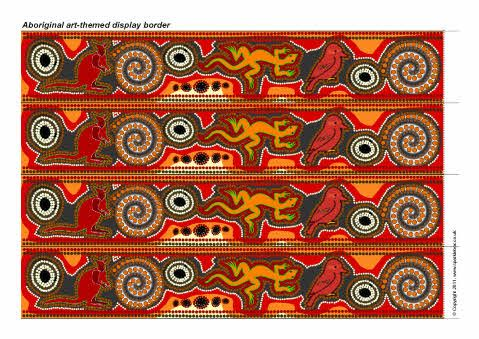 Aboriginal art printable display border strips.