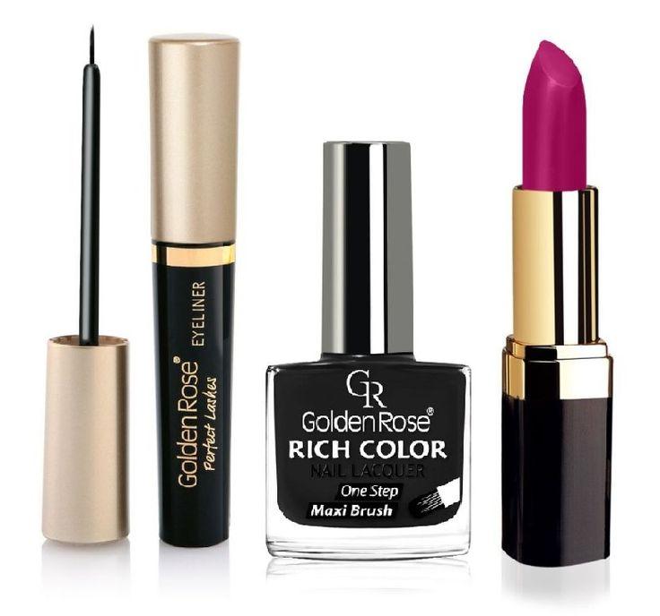 Golden Rose eyeliner, siyah oje ve mor ruj