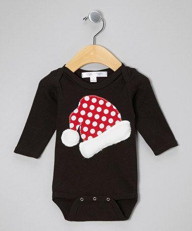 Another great find on #zulily! Black Santa Hat Bodysuit - Infant #zulilyfinds