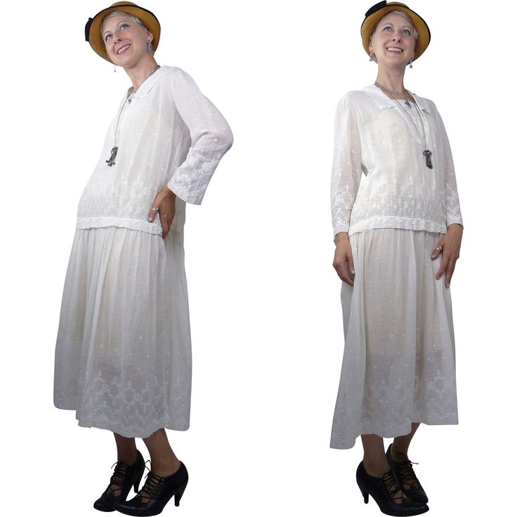 1920s White Cotton Batiste Schiffli Embroidered Day Dress from noblesavagevintage on Ruby Lane
