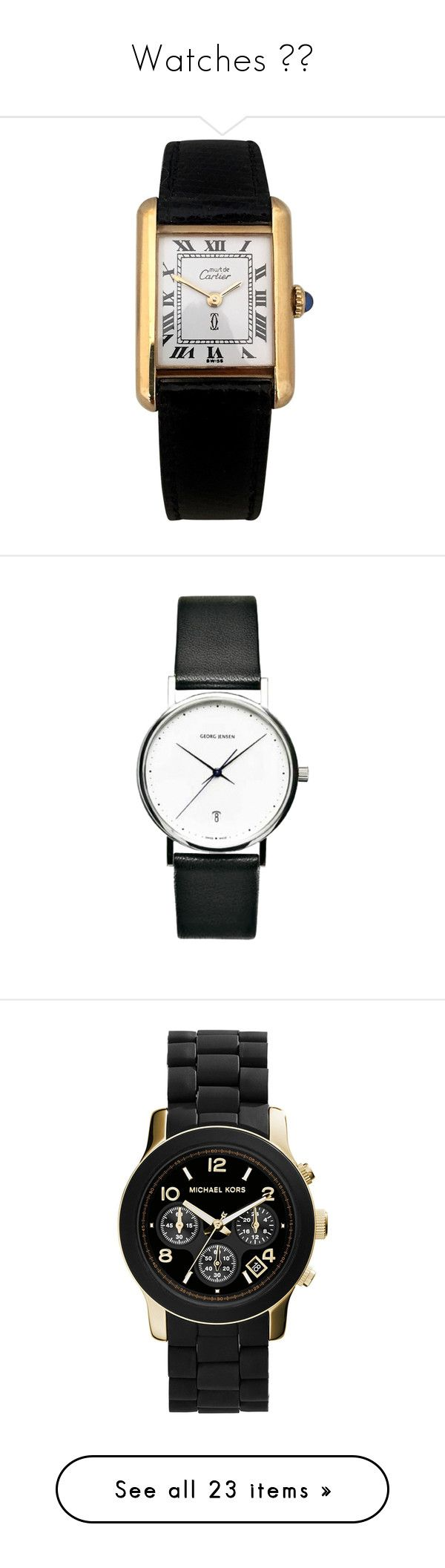 """""""Watches ⌚️"""" by plaidpandacartier ❤ liked on Polyvore featuring jewelry, watches, white, cartier watches, preowned watches, cartier jewellery, white jewelry, pre owned watches, accessories and bracelets"""