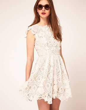 perfect for a rehearsal dinner or after the reception dress; ASOS Lace Skater Dress with Applique Detailing, $152