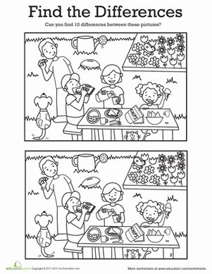 Kindergarten Coloring Worksheets: Find the Differences: At a Picnic