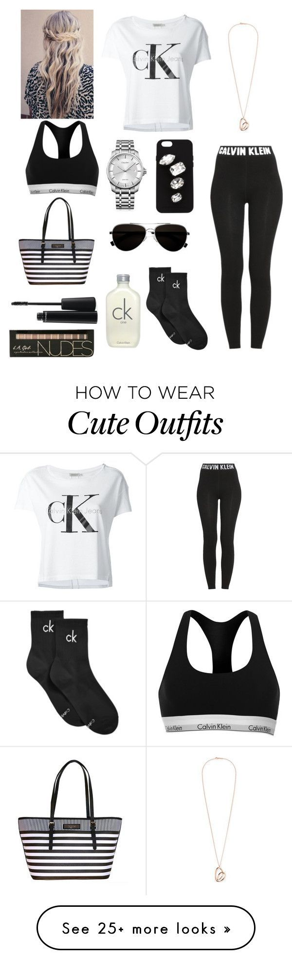 Black and white Calvin Klein outfit by emily-colquitt on Polyvore featuring Calv… – Gewand