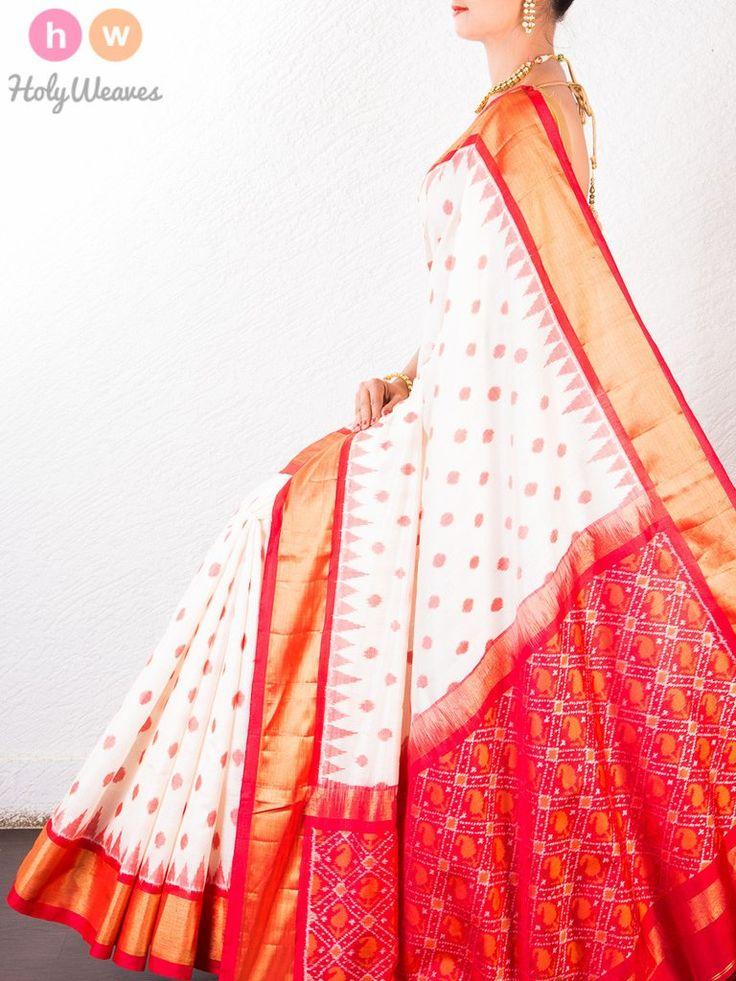 #Cream #Katan #Silk # #Pochampally #Handwoven #Saree #HolyWeaves