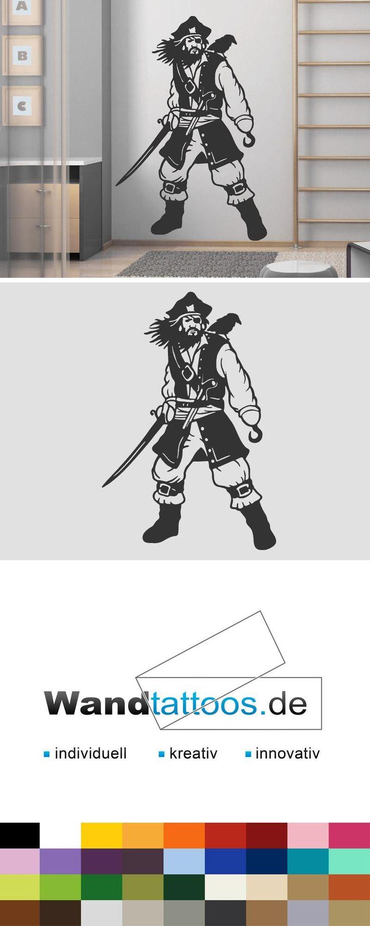 Wandtattoo Pirat als Idee zur individuellen Wandgestaltung. Einfach Lieblingsfarbe und Größe auswählen. Weitere kreative Anregungen von Wandtattoos.de hier entdecken!
