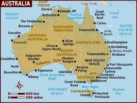 ESL Lesson: Around Australia Map (Cardinal points & prepositions to describe location on a map)