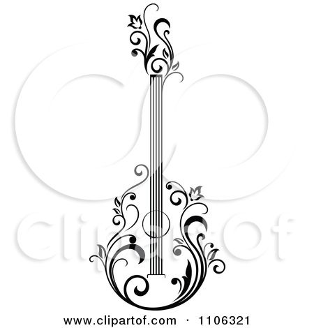 Clipart Black And White Floral Guitar 1 - Royalty Free Vector Illustration by Seamartini Graphics Media