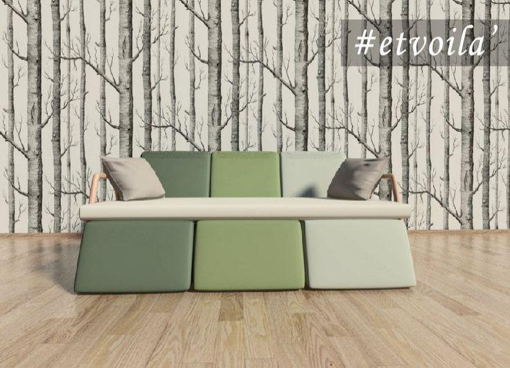 Formabilio - #ETVOILA' nasce dall'esigenza di occupare poco spazio; è un sistema di elementi che forma un comodo divano ma che all'occorrenza si scompone con un semplice gesto per raddoppiare le sedute; basta infatti alzare la panca dalle maniglie in legno e liberare dall'incastro le altre comode poltrone.