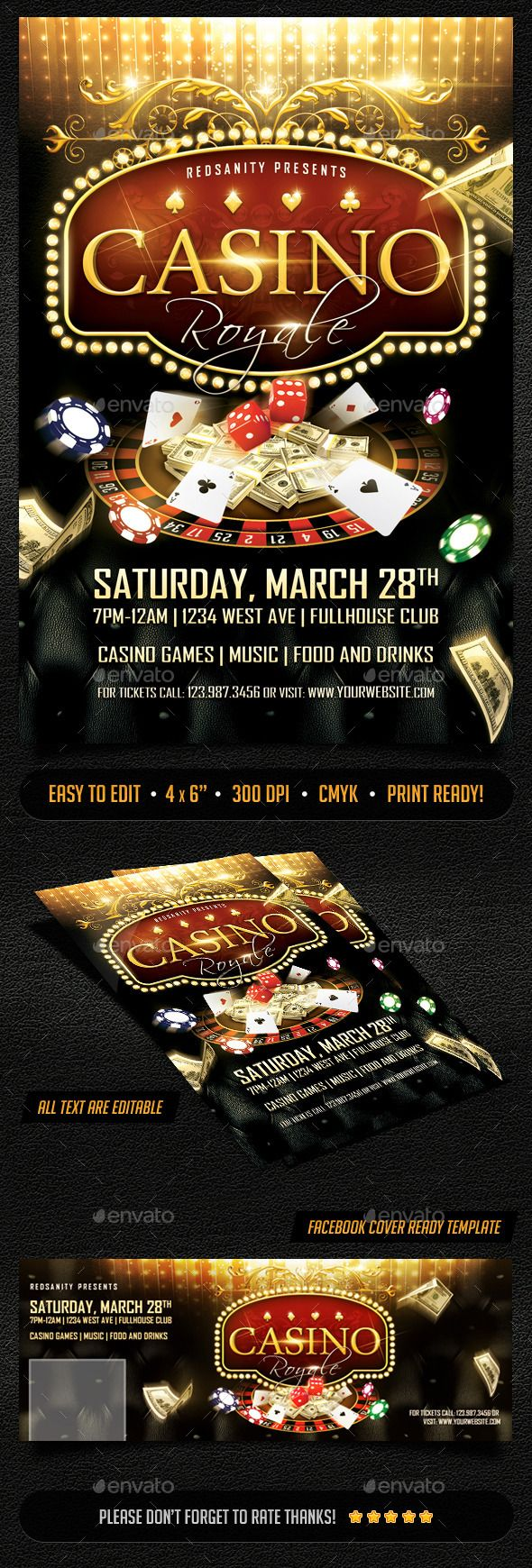 Casino Royale Flyer Plus FB Cover | Casino Infographics