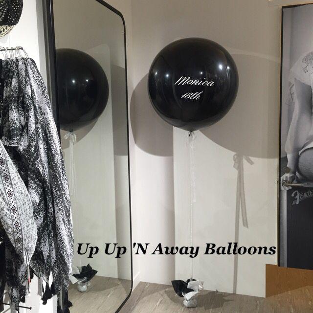 3ft Black Onyx Balloon with white vinyl lettering
