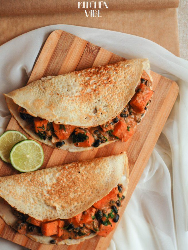 rice pancakes with pumpkin and black beans