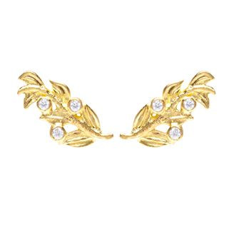Sophie Harley London Oleastro Stud Earrings in 18ct gold with tiny brilliant cut white diamonds.