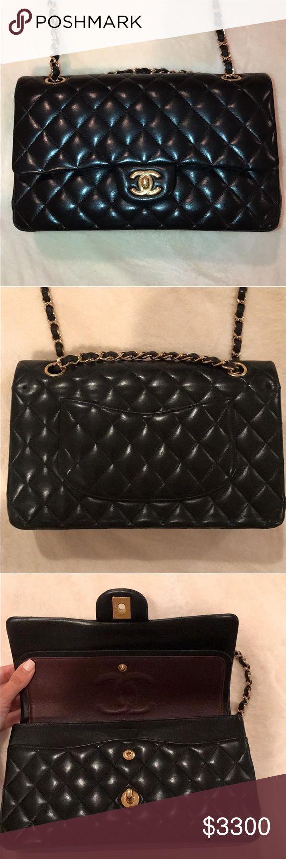 Chanel shoulder bag Classic double flap shoulder bag. Lambskin. Medium size. Gold hardware. CHANEL Bags Shoulder Bags