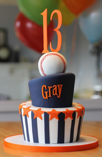 Baseball Cake for a 13 year old, orange and blue with a baseball and stars and stripes with his name, very cute