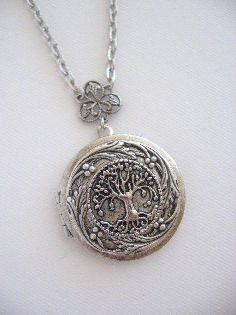 Tree LOCKET Family Tree Silver Locket Necklace by CharmedValley