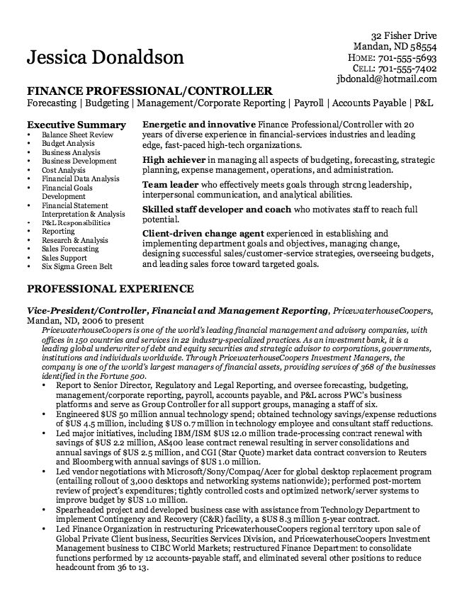 Financial Controller Resume Sample - http\/\/resumesdesign - inventory controller resume