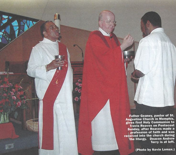 Paulist Fr. John Geaney giving first Holy Communion to Travis Reaves on Pentecost Sunday. This picture appeared in the September 30, 2005 issue of Paulist Today.