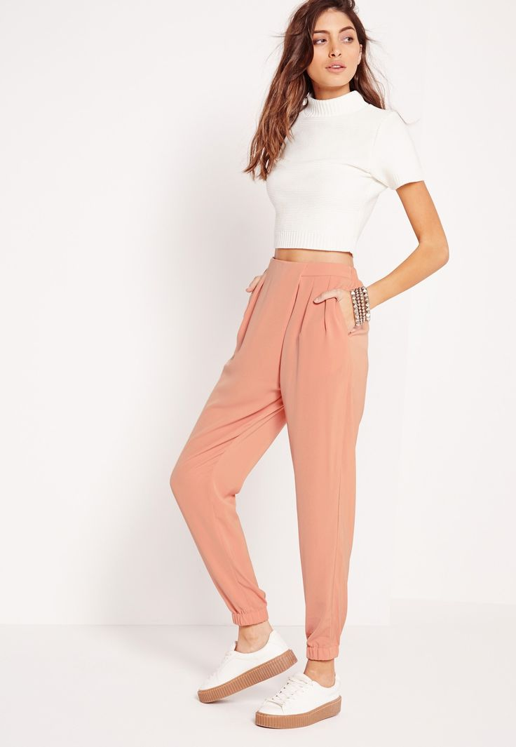 Missguided - Formal Crepe Joggers Pink
