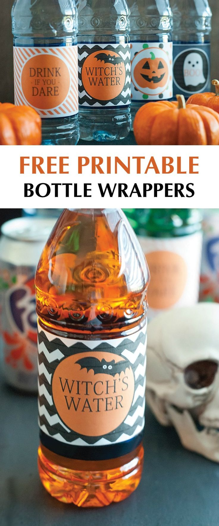 Awesome & Free Printable Halloween Bottle Wrappers! #halloween #shop #SpookySnacks